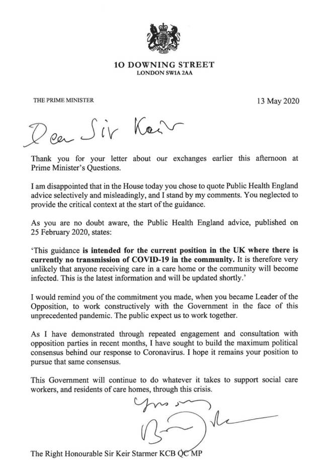 The Prime Minister's response to Sir Keir Starmer