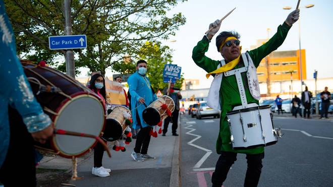 Drummers outside the Queen Elizabeth Hospital, Birmingham
