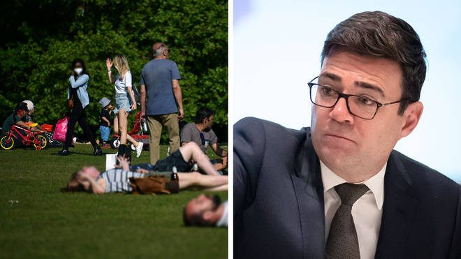 Andy Burnham did not hold back in his criticism of the anti-lockdown protests. File photo of sunbathers in Hyde Park during the lockdown