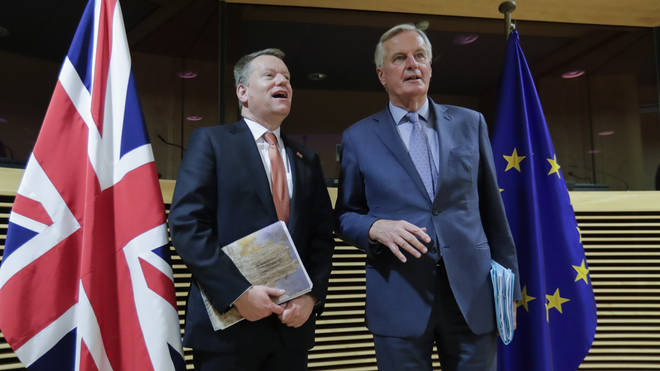 UK negotiator David Frost and EU chief negotiator Michel Barnier seen together in March