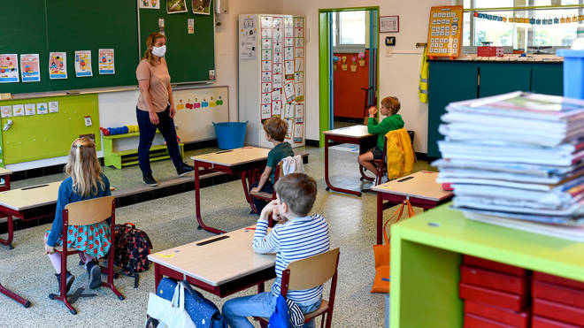 Social distancing measures have been put in place in schools such as this one in Belgium