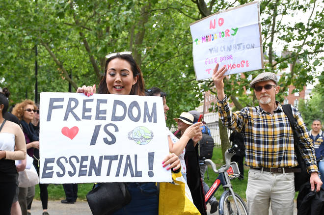 Anti-lockdown protesters broke social distancing rules to gather in London