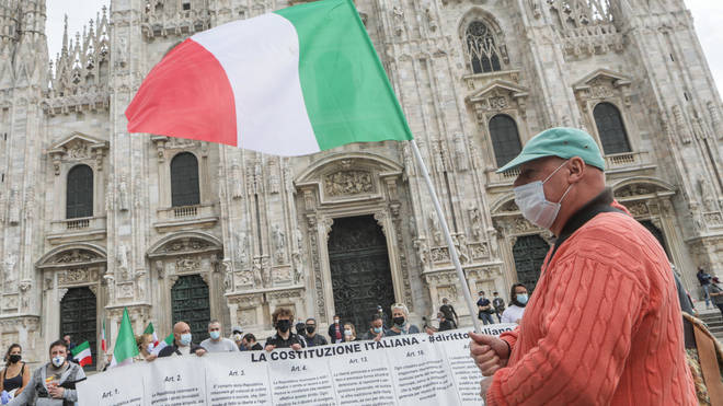 Taxi drivers' demonstration in Piazza Duomo in Milan, Italy to protest against the decrees of the Lombardy Region and the Italian Government