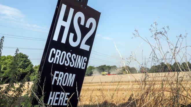 An HS2 sign near the village of South Heath in Buckinghamshire