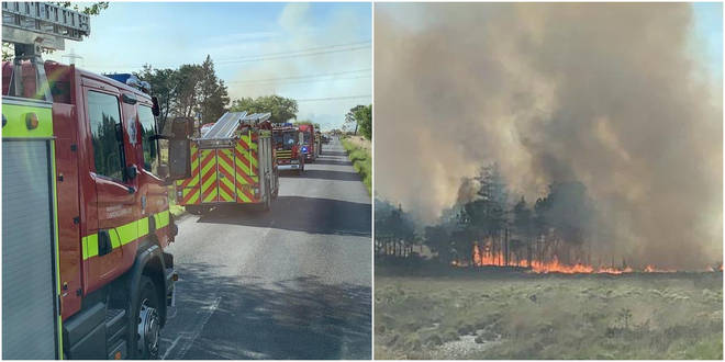Firefighters are tackling a huge blaze in Dorset