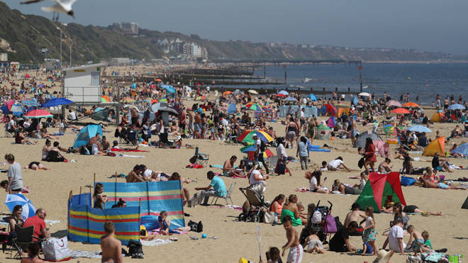 Hundreds of people on Bournemouth beach today