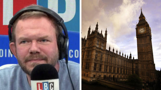 The caller told James O'Brien that he is standing outside Parliament with his grandfather's name on a placard