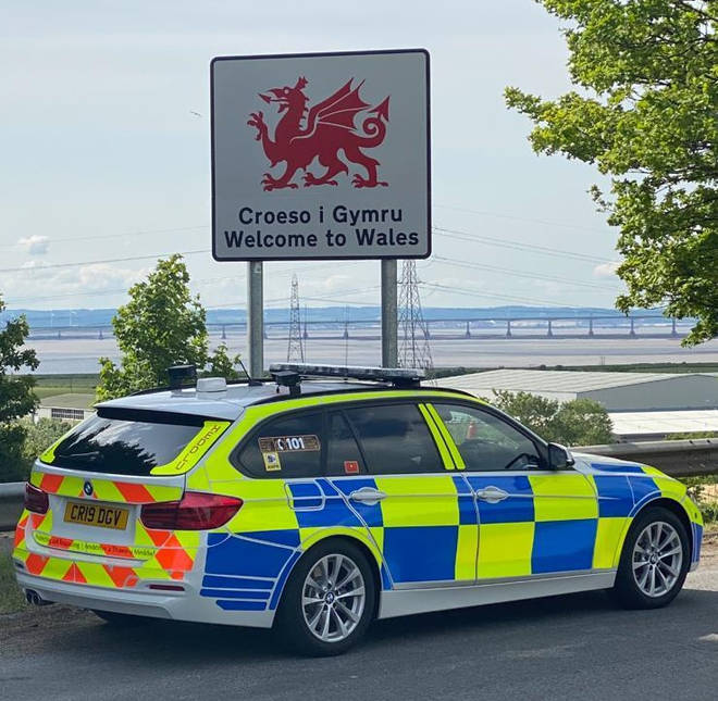 Police patrol the Welsh border
