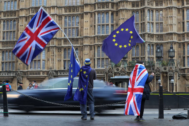 EU flags waved at parliament