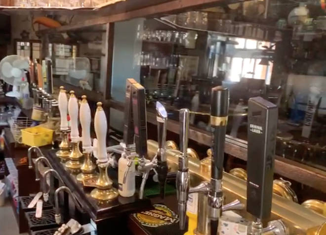 One pub has installed perspex screens to protect staff and customers