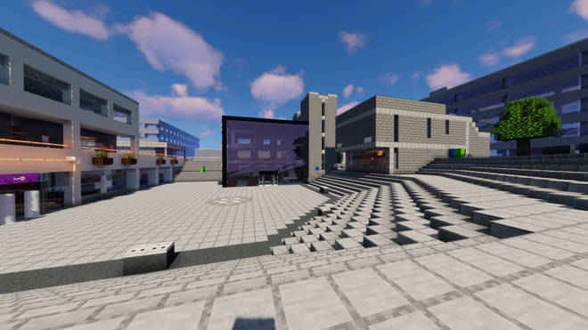 Another angle of the university's main square in the Minecraft universe