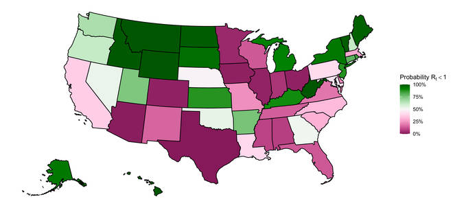 Dark green states are more likely to have an R below 1, whereas dark pink states are more likely to have an R above 1