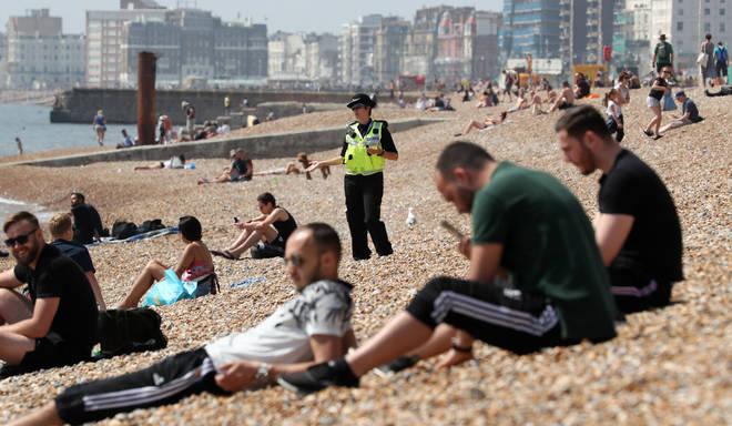 Police patrolling Brighton beach last weekend