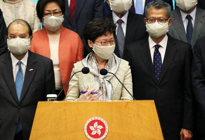 Carrie Lam has spoken in support of the law