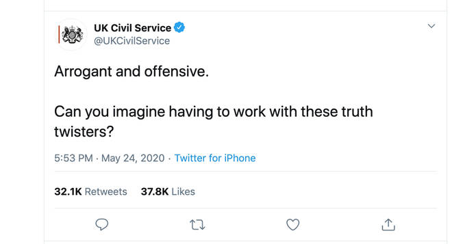 The UK Civil Service Twitter account called Boris Johnson's response arrogant and offensive