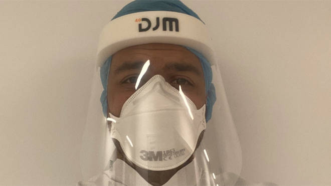 Dr Dominic Pimenta, a cardiology registrar, tweeted a picture of himself wearing protective equipment
