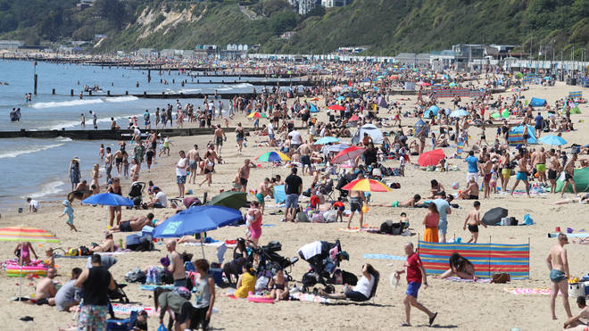 The beach in Bournemouth was packed as people soaked up Bank Holiday Monday sun