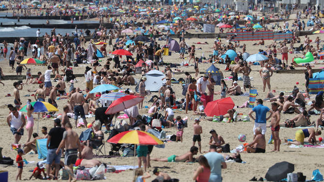 Bournemouth beach was packed amid the bank holiday sunshine