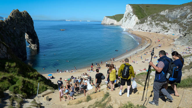 There have been complaints that some did not adhere to social distancing at Durdle Door in Dorset