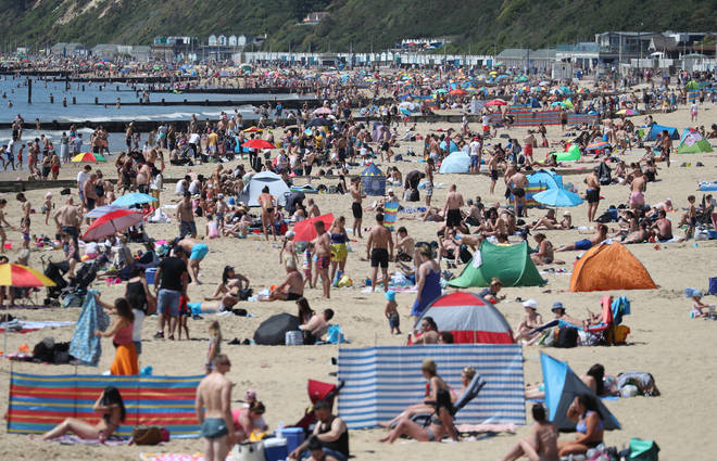 Bournemouth beach was packed over the weekend
