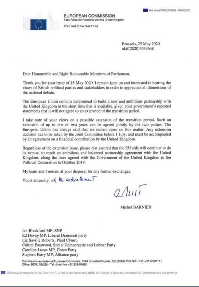 Michel Barnier sent the letter to Westminster leaders