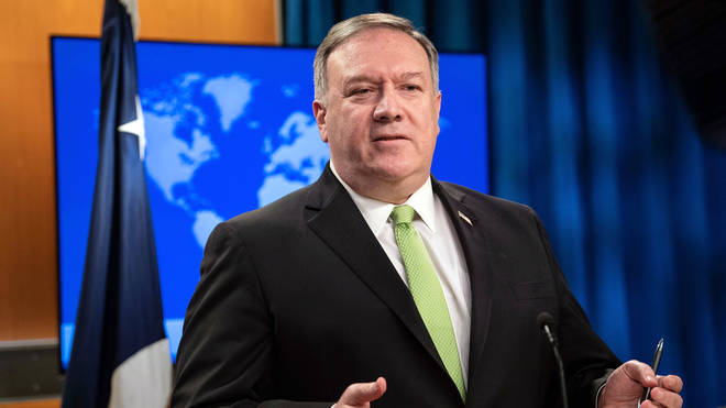 Secretary of State Mike Pompeo speaks during a press briefing at the State Department on Wednesday