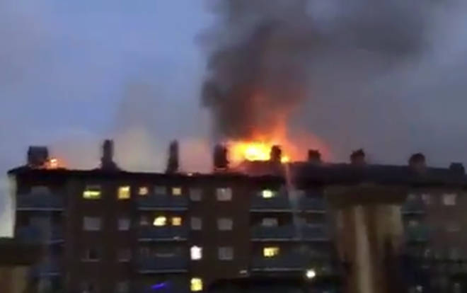 The blaze was underway on Thursday morning