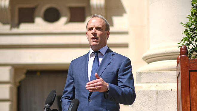 Foreign Secretary Dominic Raab speaks outside Foreign and Commonwealth Office