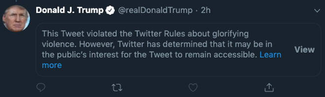 Users now have to click on the message to view the President's tweet