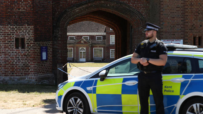 Police presence at the entrance to Lullingstone Castle in Eynsford, Kent