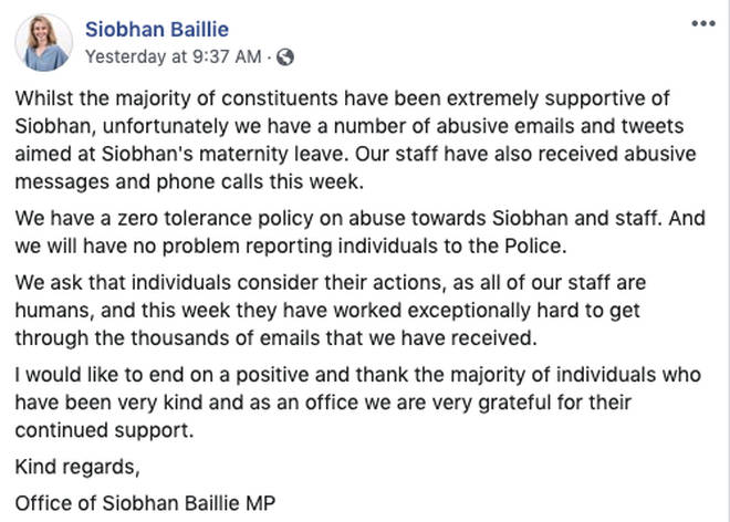 Mrs Baillie's staff have called for the abuse to stop
