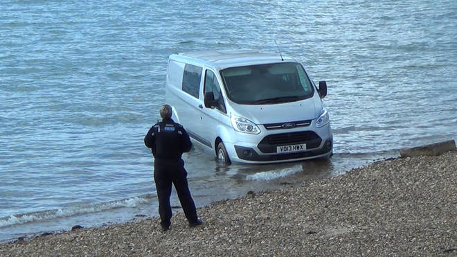 The van was left on the beach in Southend for four hours on Sunday.
