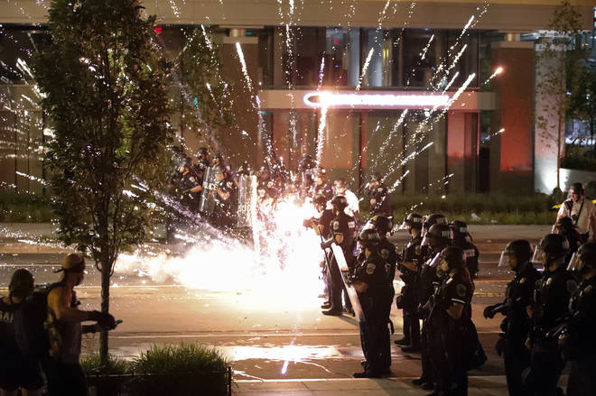 Police are targeted with fire works