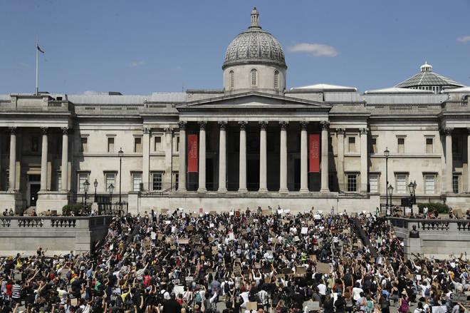 Hundreds have gathered in Trafalgar Square for a Black Lives Matter protest