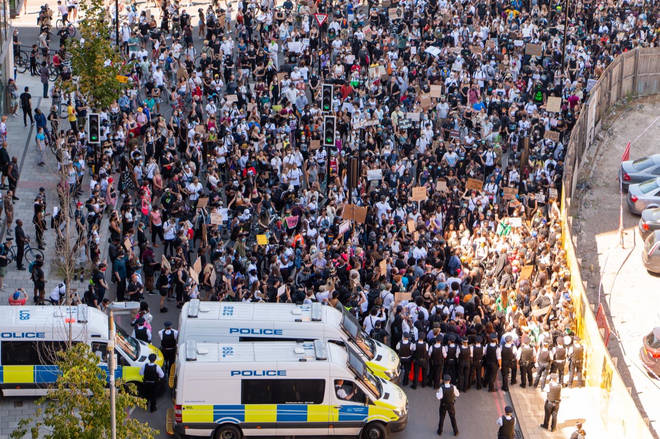 This is the scene outside Vauxhall