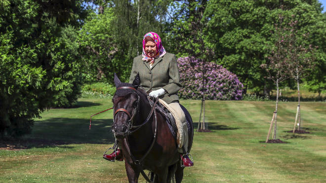 Queen Elizabeth II rides Balmoral Fern, a 14-year-old Fell Pony, in Windsor Home Park over the weekend.