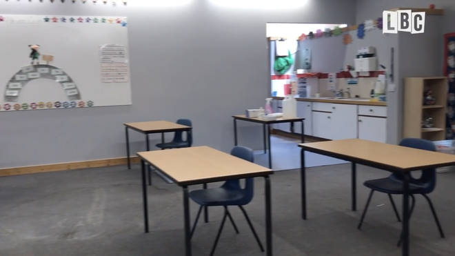 Desks have been put apart so pupils can adhere to social distancing