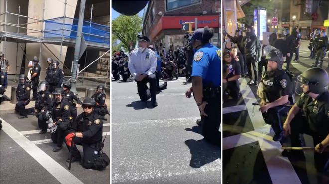 Officers in Portland (left), New York (centre) and Boston (right) took the knee for protesters
