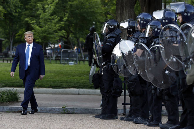 Riot police cleared the area so that Donald Trump could speak at a nearby church