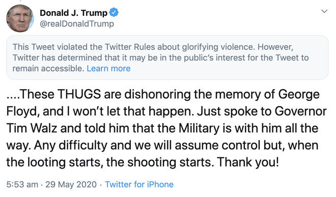 "The President was censored after he threatened to deploy the military to Minneapolis to ""shoot"" rioters as a third night of protests swept the city"