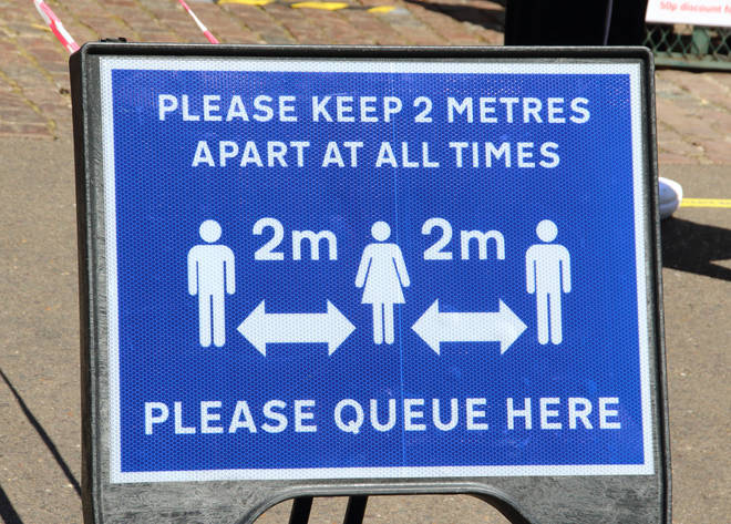 People are still being asked to keep two metres away from one another