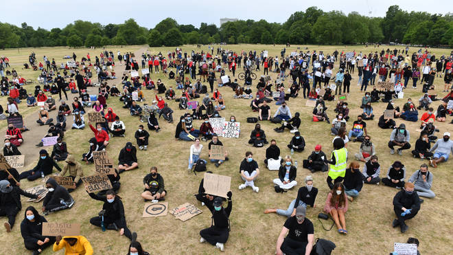 Protesters in Hyde Park were keen to be vigilant about social distancing rules in place