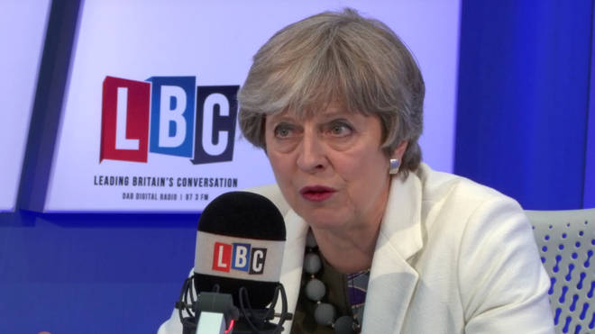 Theresa May in the LBC studio.