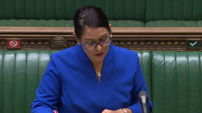 Home Secretary Priti Patel giving a statement in the House of Commons