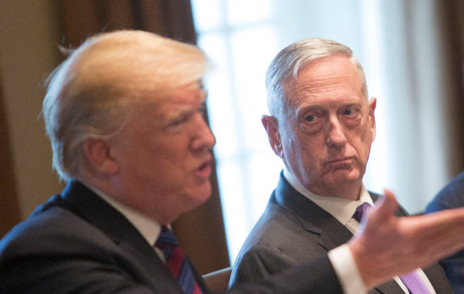 James Mattis (R) has described Donald Trump (L) as a threat to the US Constitution