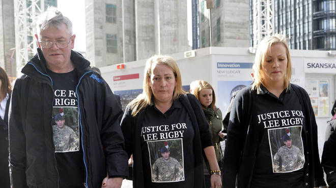 The family of murdered fusilier Lee Rigby arrive at the Old Bailey in London to hear the sentencing of Michael Adebolajo and Michael Adebowale