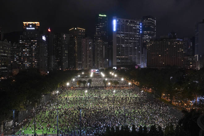 Tens of thousands of pro-democracy campaigners gathered at Victoria Park in Hong Kong