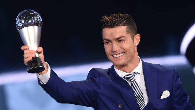Cristiano Ronaldo collects his Best FIFA Award last year