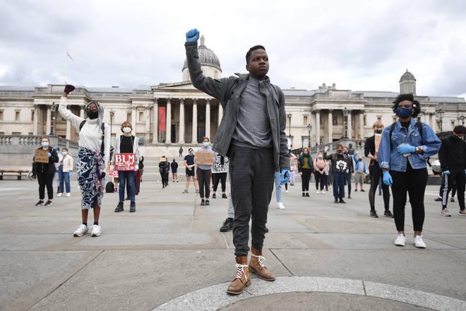 Anti-racist protesters in Trafalgar Square