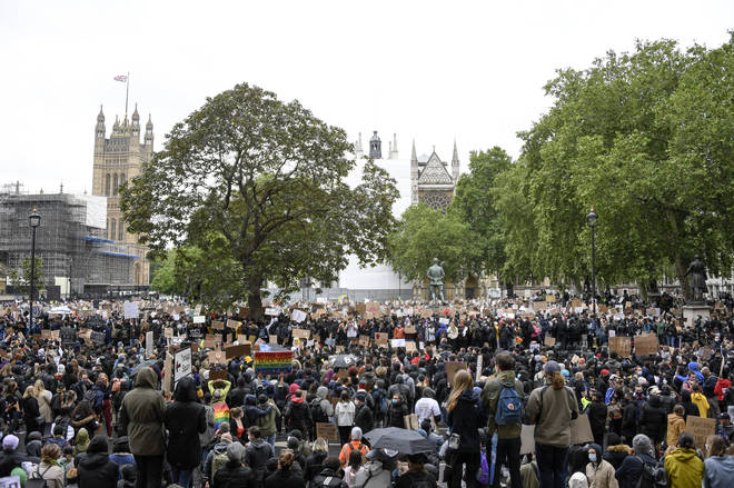Thousands of people gathered outside the Houses of Parliament on Saturday